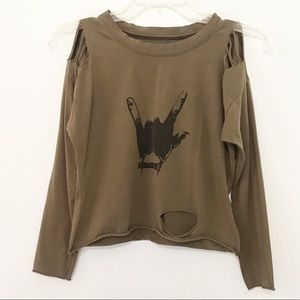 Cropped Long Sleeve Ripped Tee Green Black XS